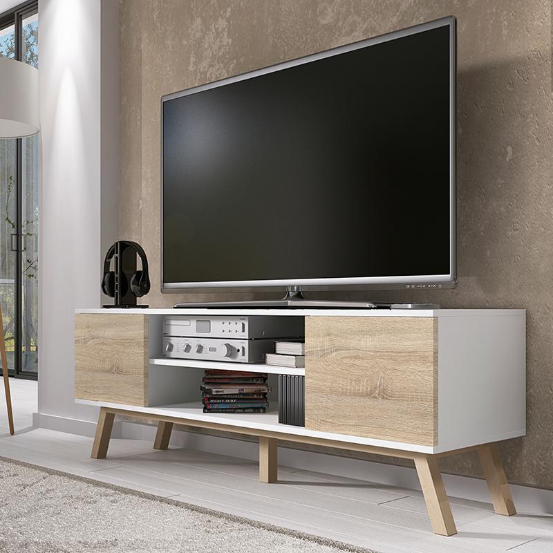 Meuble tv meuble salon vero bois 150 cm blanc mat effet ch ne style scandi pieds - Salon meuble tv ...