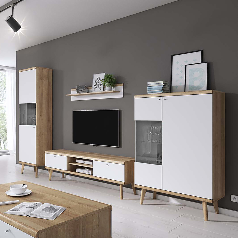 ensemble salon meubles salon scandi i effet ch ne blanc mat sans led style. Black Bedroom Furniture Sets. Home Design Ideas