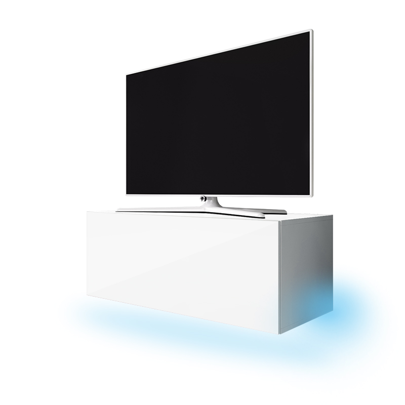 meuble tv meuble salon lana 100 cm blanc mat blanc brillant avec led bleue style. Black Bedroom Furniture Sets. Home Design Ideas