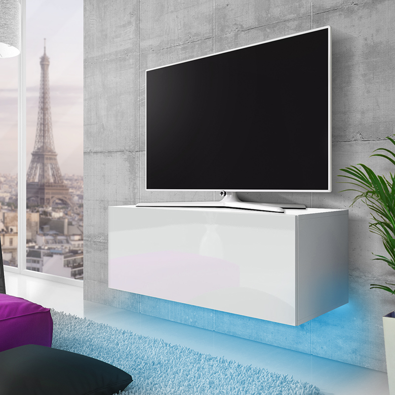 meuble tv meuble salon lana 100 cm blanc mat. Black Bedroom Furniture Sets. Home Design Ideas