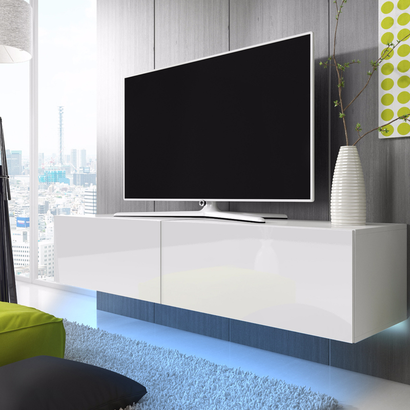 meuble tv meuble salon lana 200 cm blanc mat. Black Bedroom Furniture Sets. Home Design Ideas