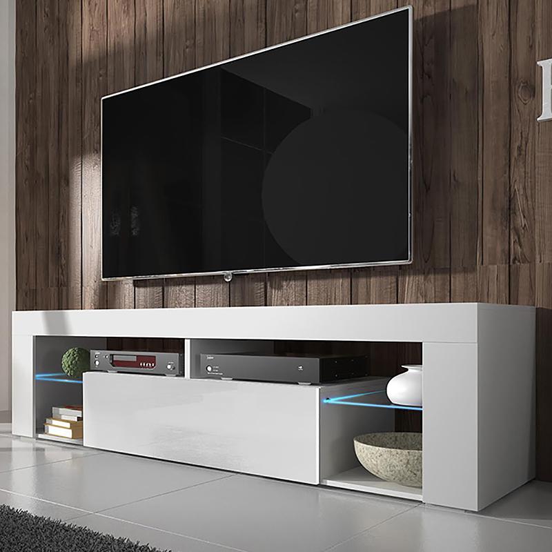 meuble tv meuble de salon hugo 140 cm blanc mat blanc brillant avec led style. Black Bedroom Furniture Sets. Home Design Ideas
