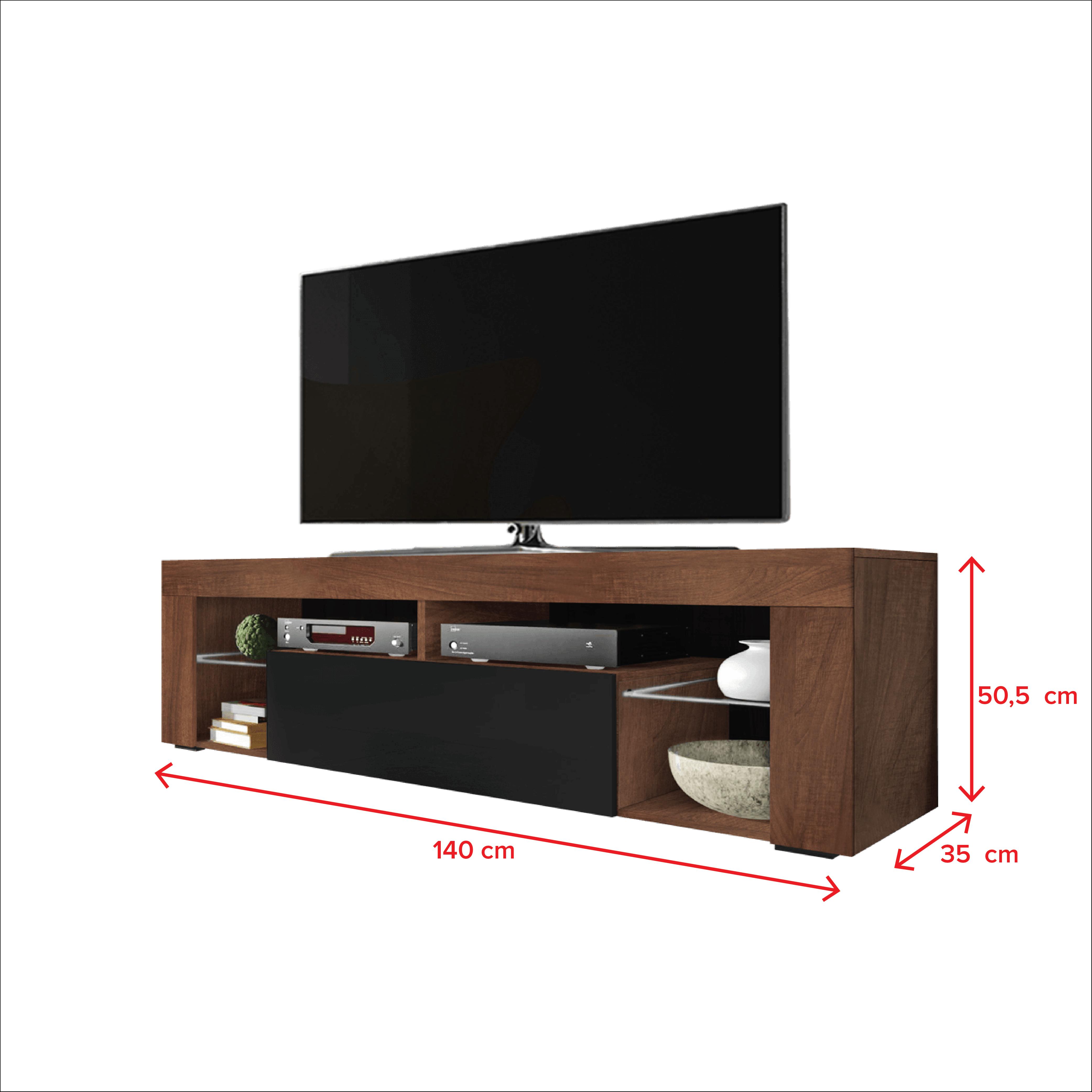 Meuble Tv Grande Taille meuble tv / banc tv - bianko - 140 cm - chêne caravaggio
