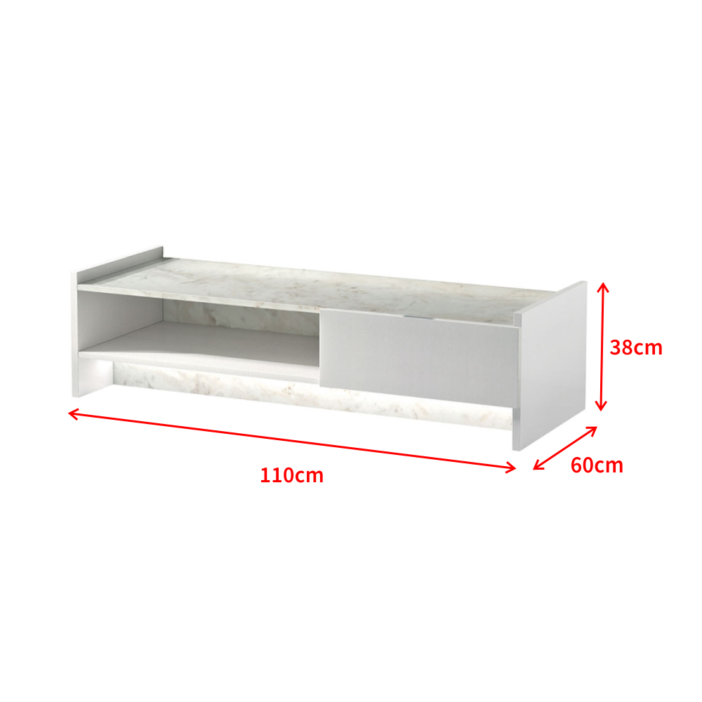 Quelle Hauteur Meuble Tv meuble tv / meuble de salon - marbre - 110 cm - blanc