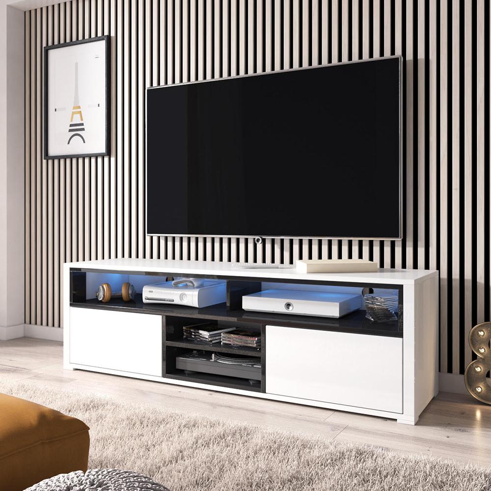 Meuble Tv Living Salon maison messa meuble tv avec led bleue blanc noir effet chêne